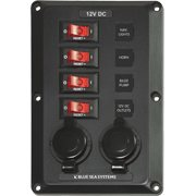 Blue Sea Systems Circuit Breaker Switch Panel with 12V Sockets