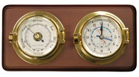 Meridian Zero Channel Range Brass Tide Clock and Barometer
