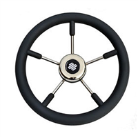 Ultraflex Five Spoke Stainless and Rubber Steering Wheel