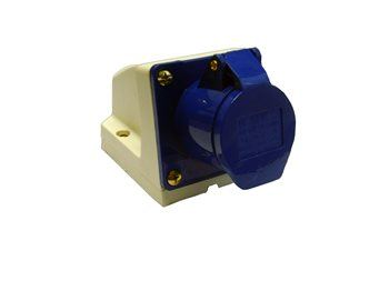 Waveline 16 amp Industrial Socket - Bulkhead Fitting  - Click to view larger image