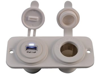 Talamex Double Mounted USB Socket & 12V Socket   - Click to view larger image