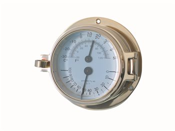 Meridian Zero Channel Range Brass Comfort Meter, Thermometer & Hygrometer  - Click to view larger image