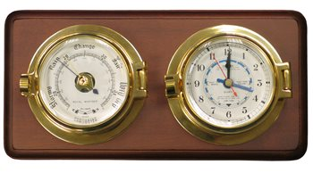 Meridian Zero Channel Range Brass Tide Clock and Barometer  - Click to view larger image