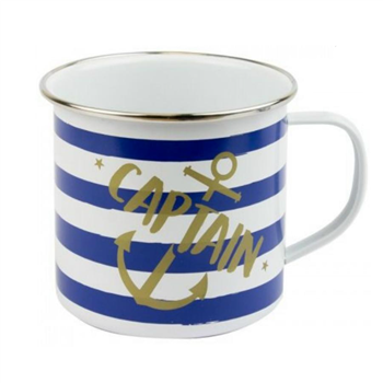 Nauticalia Captain Striped Tin Mug  - Click to view larger image