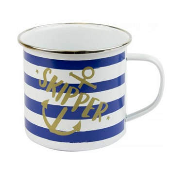Nauticalia Skipper Striped Tin Mug  - Click to view larger image