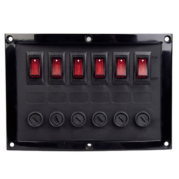 Talamex 6 Switch Horizontal Panel (Fused)  - Click to view larger image